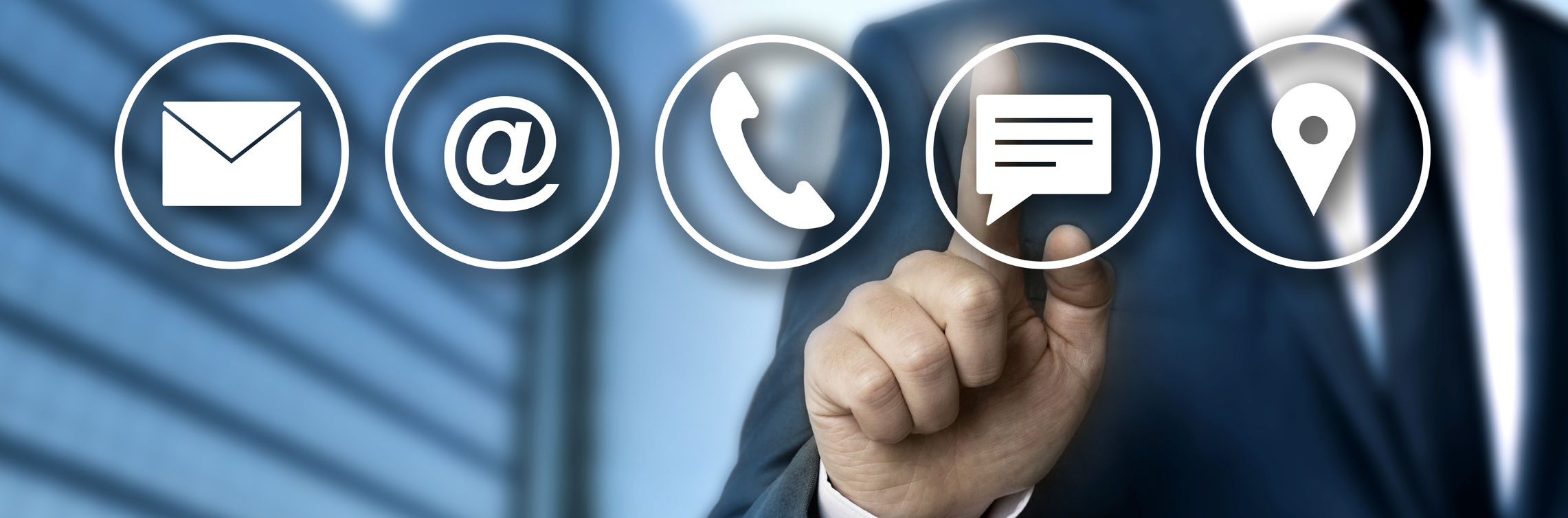Contact options concept is shown by businessman