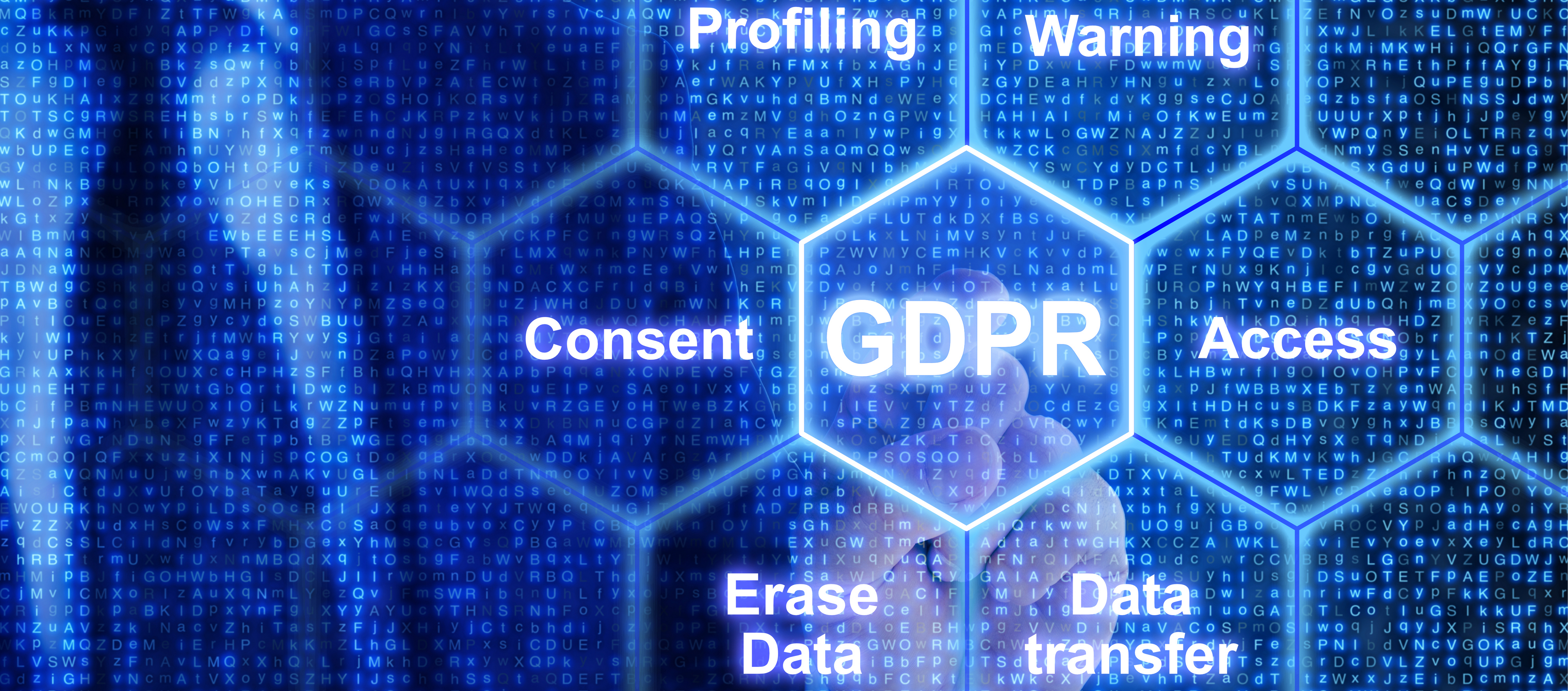 IT exppert touching a tile in a grid with GDPR keywords